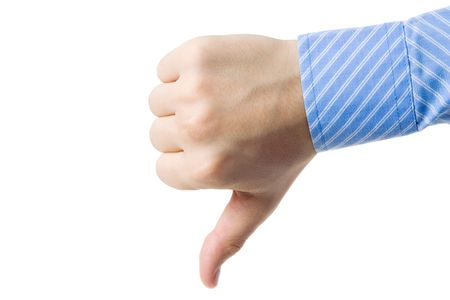 disapproval: A Hand gesturing disagreement, isolated on white Stock Photo