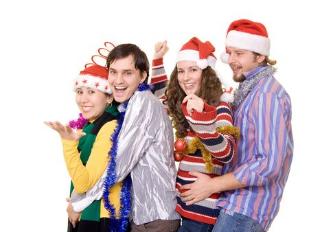 Four friends having fun on a christmass party