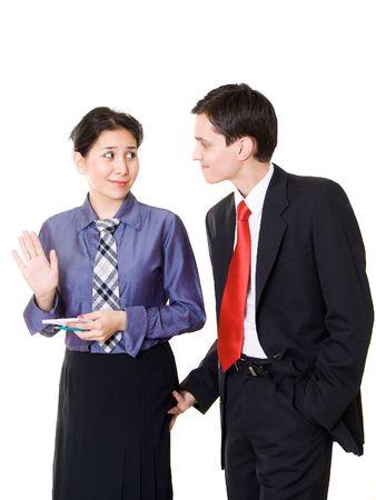 seducing: Un giovane manager seducente sua segretaria o un collega