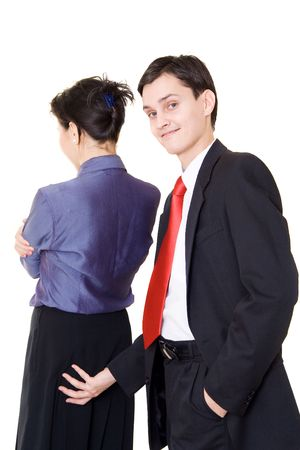 soliciting: A young manager ually soliciting his female colleague Stock Photo