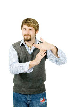 entracte: Un jeune homme faisant des gestes temps mort, isol� sur blanc