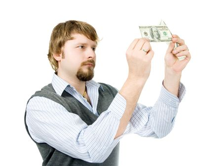 vals geld: Jongeman controle dollarbiljetten
