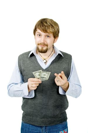 show bill: A young man with two bucks, isolated