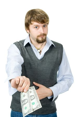 A young man with 2 dollars, focused on bills photo