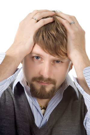 Portrait of a young man, experiencing some difficulties Stock Photo - 640565