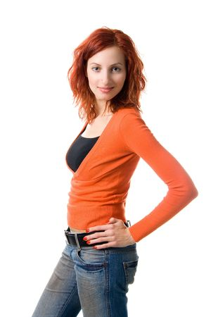 Beautiful red haired woman, isolated on white Stock Photo - 667440