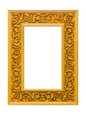 A wooden picture frame, isolated on white Stock Photo