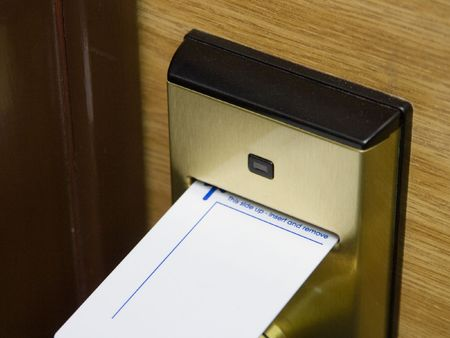 A keycard and electronic lock, original version Stock Photo