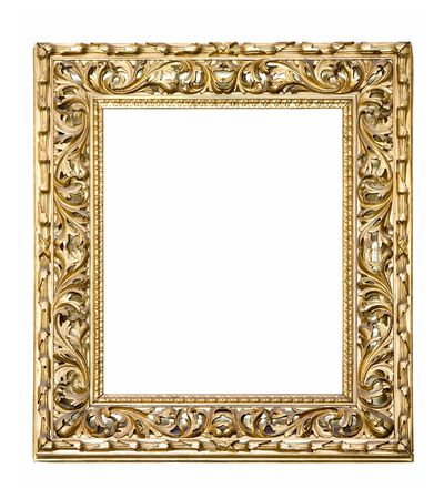 An old picture frame isolated on white