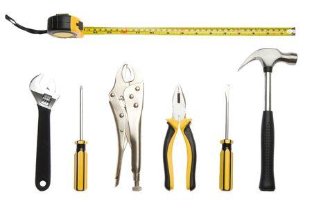 Eine Reihe von Werkzeugen - isoliert auf weißem