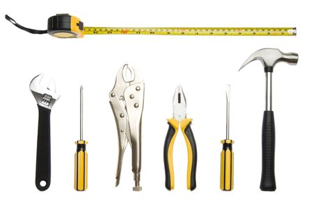 Zestaw narzędzi - pojedyncze na białym