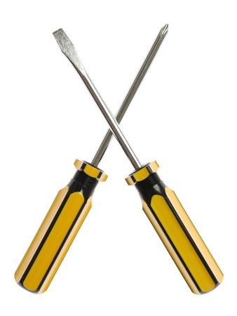 handtools: Two crossed screwdrivers isolated on white background