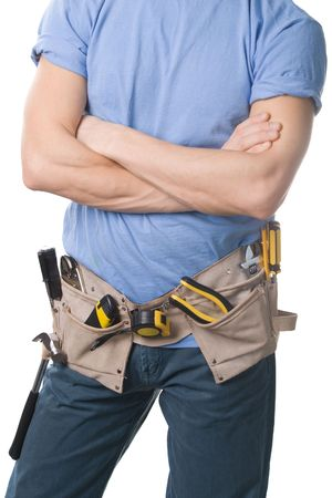 Carpenter with a tools belt, isolated on white