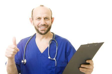 Doctor showing thumb up - good diagnose, isolated Stock Photo