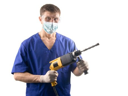 proctologist: A doctor with a drill, isolated on white Stock Photo