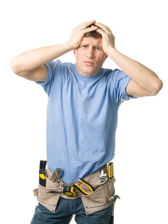 blunder: Carpenter experiencing some problems, isolated on white Stock Photo
