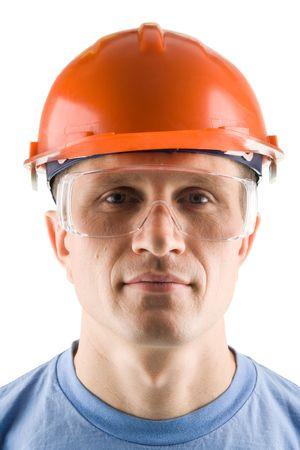 Portrait eines Arbeiters, lokalisiert auf Weiß