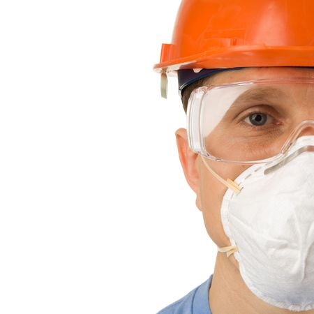 building safety: Headshot of a worker in protective workwear, isolated