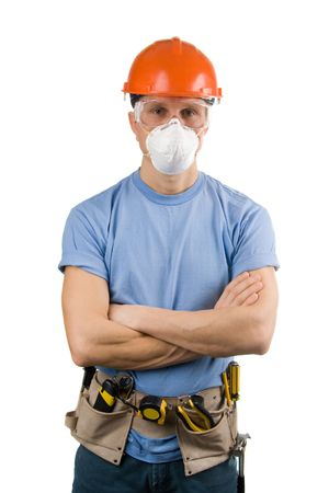 Worker in protective workwear with tools, isolated