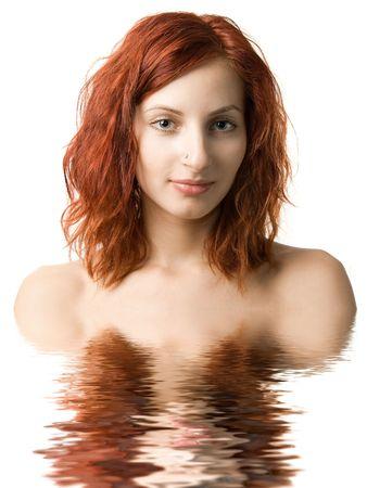 Beautiful girl in the water photo