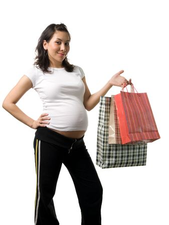 An asian pregnant woman shopping, isolated photo