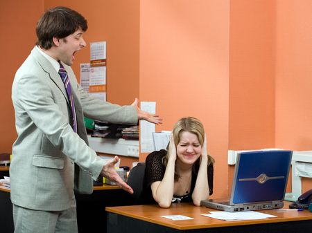 Businessman shouting at his colleague in the office Stock Photo - 826935