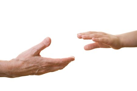 smal: Old hand offering support to a young one Stock Photo