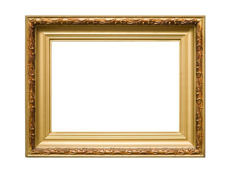 An empty wooden frame isolated on white