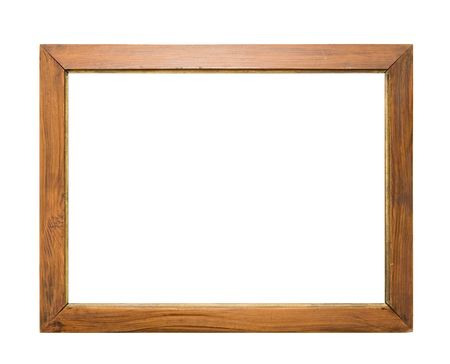 An empty wooden frame, isolated on white