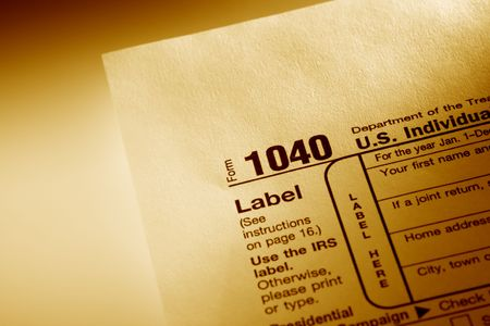 Photo of tax form 1040, used color filter