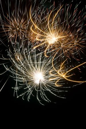 Some holiday fireworks on the night sky photo