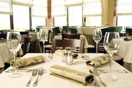 A photo of a restaurant's interior, horizontal