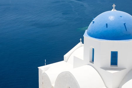 A dome of a church in Santorini