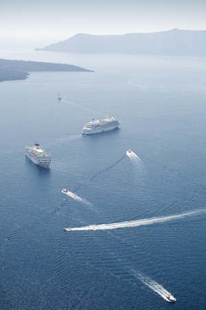 Some cruise ships and other vessels in the sea Stock Photo