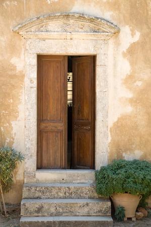 A photo of an old door, Crete isl., Greece Stock Photo