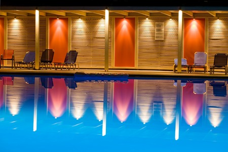 A night shot of the swimming pool photo