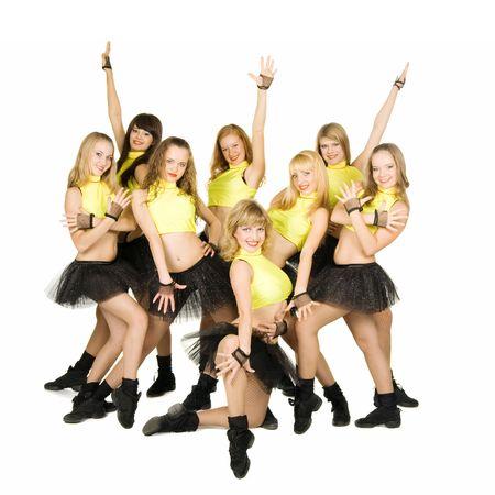 A cheerleaders team of eight people, isolated