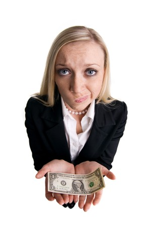Businesswoman with dollar on a white background photo