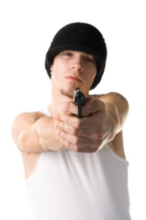 of a young man pointing gun at you photo