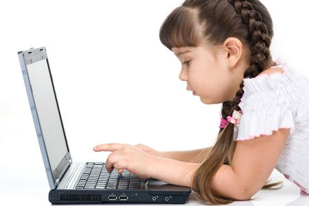 of a girl with laptop, isolated on whita photo
