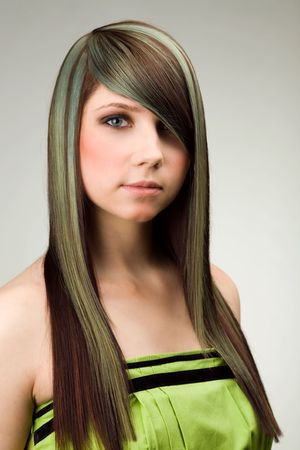 A of attractive woman with colored hairstyle photo