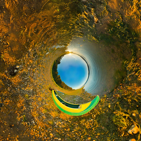 equirectangular: kayak on river coast. Stereographic panorama, a little planet Stock Photo