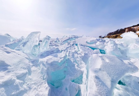 baical: Blue ice hummocks Baikal stereographic panorama little planet