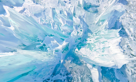 Blue ice hummocks Baikal stereographic panorama little planet
