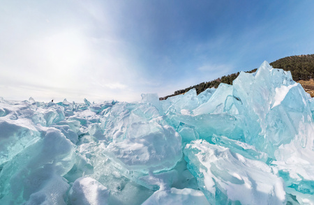 blue widescreen widescreen: blue hummocks of of lake baikal ice in a stretched widescreen format Stock Photo