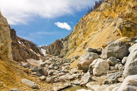 Mountain gorge, river Muguvek Stock Photo