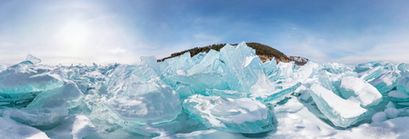 Blue Hummocks of of lake baikal ice, panorama 360 degrees equirectangular projection