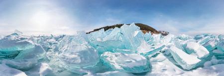 Blue Hummocks of of lake baikal ice, panorama 360 degrees equirectangular projection