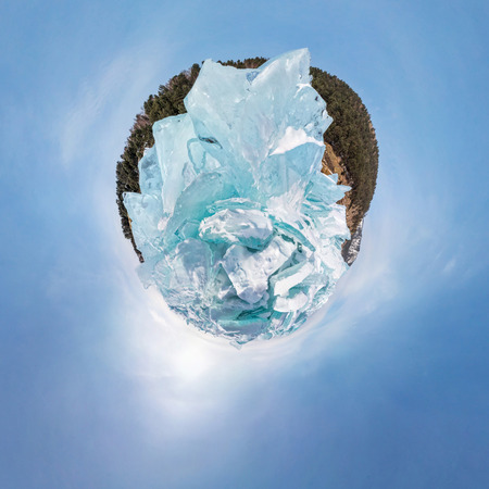 baical: The blue hummocks of ice of lake baikal in the stereographic projection of little planet