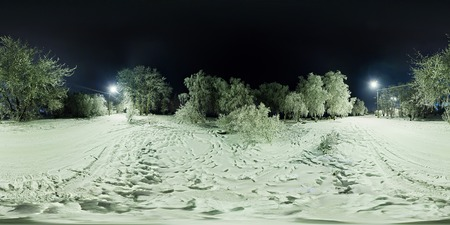 equirectangular: Spherical panorama of winter forest and a road with lanterns at night 360 to 180 degrees.